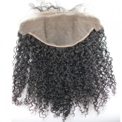 Pre Plucked 13X6 Mongolian Kinky Curly Remy Hair Lace Frontal Closure Bleached knots Natural Color Density 130% In Stock