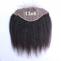 13x6 Mongolian Kinky Straight Lace Frontal Closure Bleached Knots Coarse Yaki Lace Frontal Free 3 Part Kinky Straight Frontal