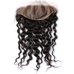 Brazilian Remy Hair Loose Deep Wave Natural Color Closure Swiss Lace 13x6 Pre Plucked Hair Line Lace Frontal