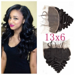 Lace Frontal Closure 13X6 Human Hair Peruvian Remy Hair loose deep wave Natural color density 130% Bleached knots