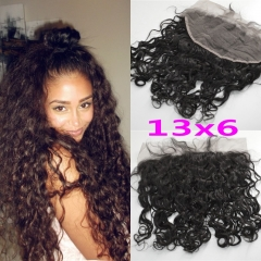 13X6 Water Wave Lace Frontal Closure Ear To Ear Brazilian Remy Human Hair Free Middlie 3 Part Lace Frontals With Baby Hair