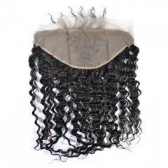 13X6 Deep Wave Ear To Ear Brazilian Lace Frontal Closure With Baby Hair Natural Color 130% Density