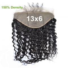 150% Density Lace Frontal 13x6 Deep Wave Brazilian Human Hair Ear To Ear Bleached knots Pre Plucked With Baby Hair