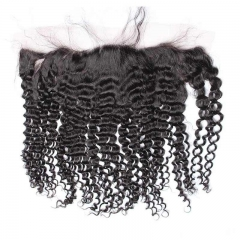 Kinky Curly Peruvian Human Hair Ear To Ear Lace Frontal Closure Hairstyles 13x4inchs Natural color For Sale