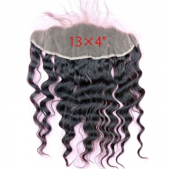 Free Part Loose Wave Lace Frontal Closure 13x4 Ear to Ear Malaysia Human Hair Extensions with Baby Hair Bleached Knots Natural Color