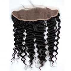 Free Part 13x4 Lace Frontal Closure Deep Wave Free Part Ear to Ear Brazilian Human Hair Extensions Frontal Lace Closure with Baby Hair Bleached