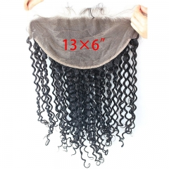 13x6 Lace Frontal Closure Deep Wave Ear to Ear Free Part 130% Density Peruvian Human Hair Full Lace Closure Bleached Knots with Baby Hair Natur