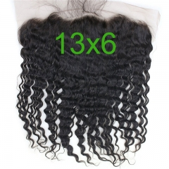 13x6 Full Lace Frontal Closure 150% Density Deep Wave Free Part Brazilian Human Hair Full Lace Closure Bleached Knots with Baby Hair Natural Co