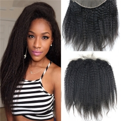 13x4 Full Lace Frontal Closure Kinky Straight Ear to Ear Free Part Unprocessed Mongolian Human Hair Extensions With Baby Hair Bleached Knots Na