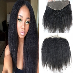 13x6 Full Lace Frontal Closure Kinky Straight Ear to Ear Free Part Unprocessed Mongolian Human Hair Extensions With Baby Hair Bleached Knots