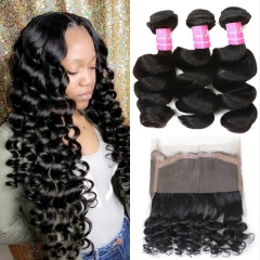 360 Lace Frontal with Bundles Grade Peruvian Loose Wave Bundles with 360 Free Part Lace Frontal Closure Human Hair Extensions Natural Color