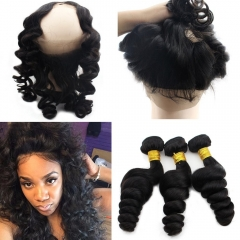 Peruvian Human Hair 360 Lace Frontal Closure with 2 Bundles Loose Curly Weave