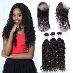 Unprocessed Malaysian Remy Hair 360 Lace Frontal Closure Pre-Plucked With Bundles Water Wave Human Hair 360 Lace Frontal Band With Baby Hair