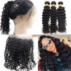 Pre plucked 360 lace frontal with bundle curly brazilian Remy Hair with frontal closure bundle