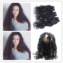 Wet and Wavy 360 Lace Frontal With 3 Bundles 4Pcs lot Brazilian Water Wave Human Hair Weaves With 360 Band Lace Closure