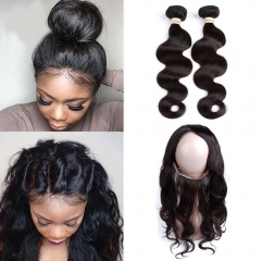 360 Lace Band Frontal Closure and 2 bundles Boby Wave Hair Brazilian Remy Hair Human Hair Full Frontal 360 Lace Frontal Closure with Baby Hair