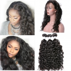 360 Lace Frontal Closure with Bundles Brazilian Remy Hair Water And Wave Weave 3 Bundles with 360 Lace Frontal Closure Natural Black Hair Extensions