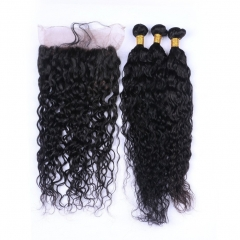 Malaysian Human Hair 3 Bundles With 360 Band Lace Frontal Pre Plucked Deep Curly Wave 360 Full Lace Frontal With Weaves Extensions 4Pcs Lot
