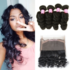 Loose Wave with 360 Frontal Grade Brazilian Loose Wave Bundles Human Hair Extensions with 360 Free Part Lace Frontal Closure Natural Color