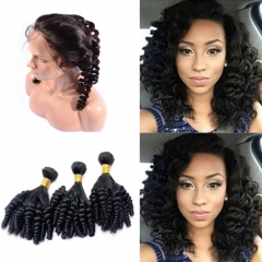 8A Pre Plucked 360 Lace Frontal Closure With 3 Bundles 8A Brazilian Human Hair Bouncy Curly Weave With 360 Full Lace Band Fron