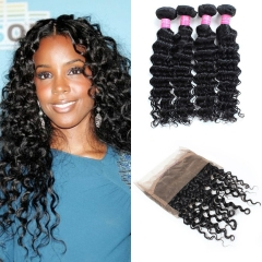 360 Lace Frontal with Bundles Grade Unprocessed Brazilian Deep Wave Human Hair Bundle with 360 Free Part Lace Frontal Closure Natural Color