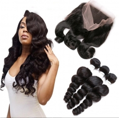 360 Lace Frontal Closure With Bundles Pre Plucked Lace Frontal Weave Wave Curly Peruvian Remy Hair With Frontal Closure