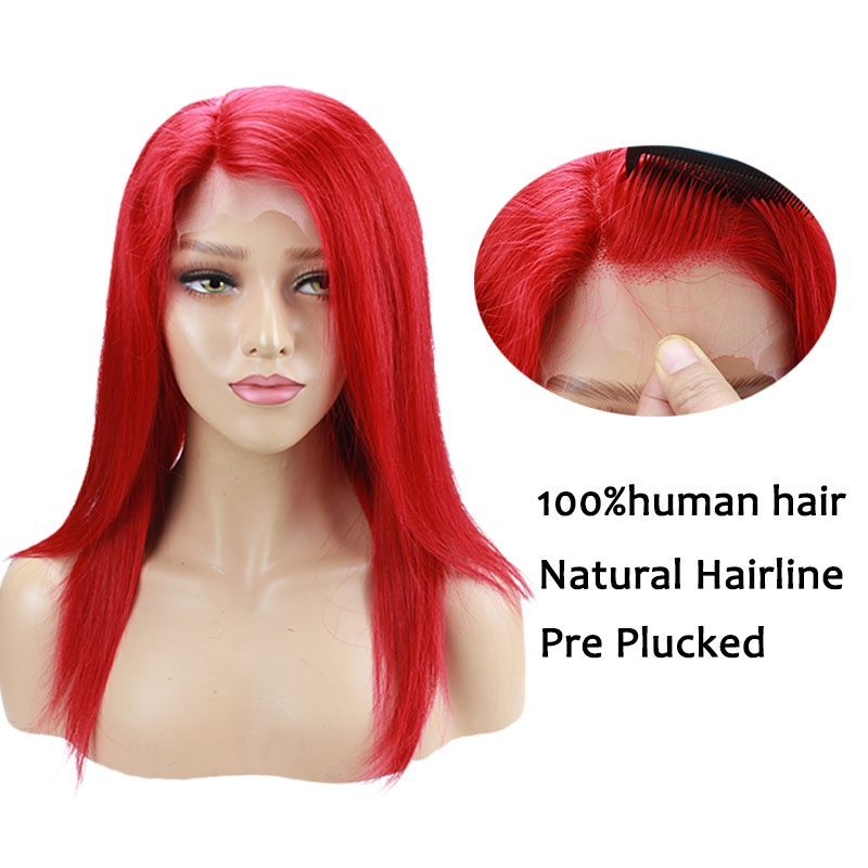 Red Hair Color Malaysia Hair Straight Human Hair Pre Plucked Lace