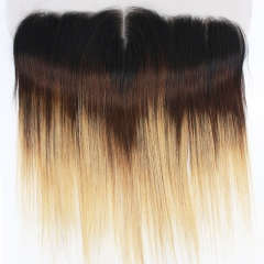 "Middle Part Ear To Ear 13x4"" Full Frontal Lace Closure Straight Hair Bleached Knots With Baby Hair Color 1BT4T27"