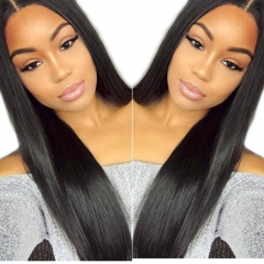 Light Yaki 250% Density Malaysian Human Hair Lace Front Wig Natural Color Hair Bleached Knots Pre Plucked With Baby Hair