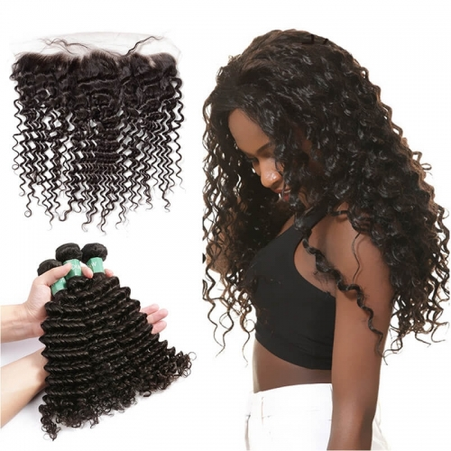 Brazilian Curly Human Hair 13x4 Lace Frontal Hidden Knots With Natural Color Human Hair Bundles