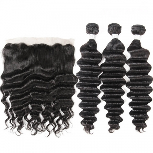 Brazilian Deep Wave Remy Hair Unprocessed Human Hair Bundles 3pcs with 13x4 Lace Frontal Closure Pre Plucked With Natural Baby Hair