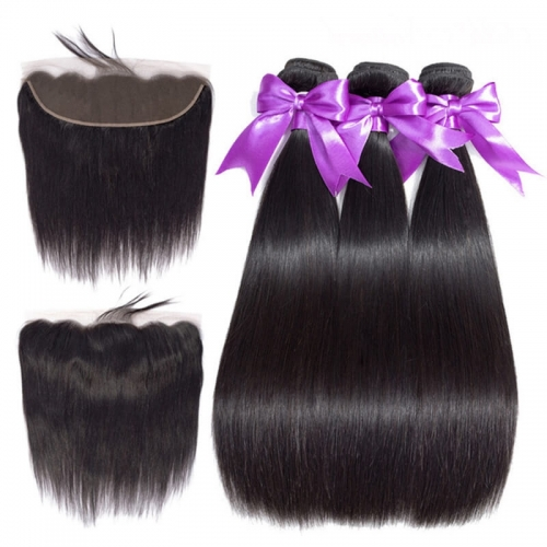 Natural Black Human Hair Brazilian Straight Hair Bundles With lace Frontal 13x4 Closure Bleached Knots Pre Plucked Natural Baby Hair Around