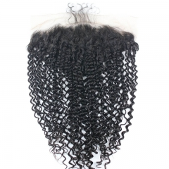13x6 Curly Brazilian Human Hair Lace Frontal Closures Ear To Ear Bleached Knots With Baby Hair Natural Color