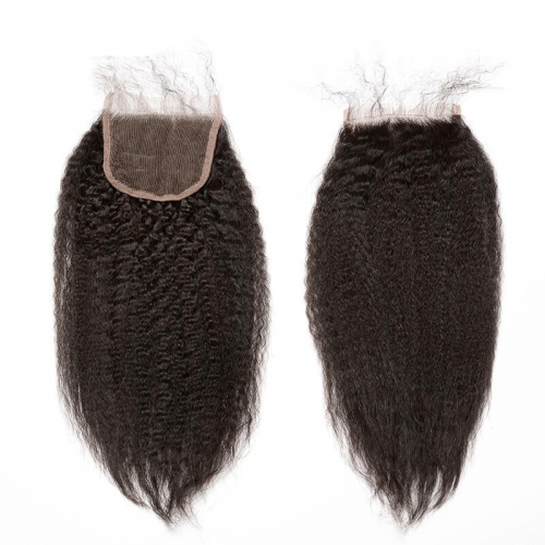 Kinky Straight Natural Color Brazilian Human Hair Lace Top Closures Bleached Knots 5x5 On Sale